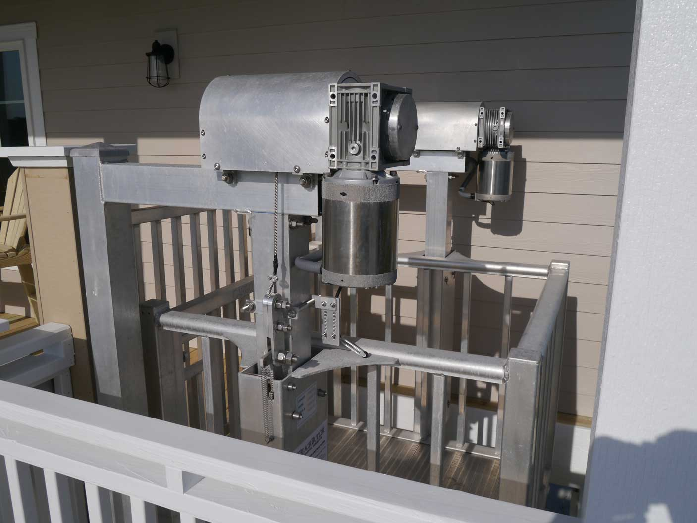 Exterior lift built to withstand the weather vintage for Outdoor elevators for beach houses