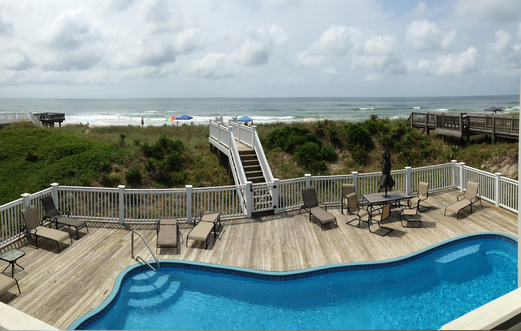 An oceanside pool is a big asset for coastal rental homes.
